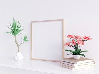 Home interior poster mock up with square metal frame and plants in pots on white wall background. 3D rendering illustration