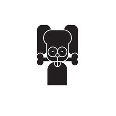 Dog with bone black vector concept icon. Dog with bone flat illustration, sign, symbol