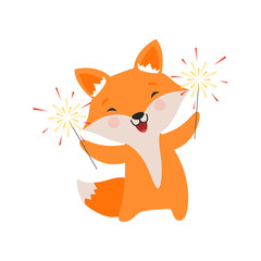 Cute fox celebrating with sparklers, lovely cartoon animal character, design template can be used for New Year or Christmas, Birthday card, banner, poster, holiday decoration vector Illustration