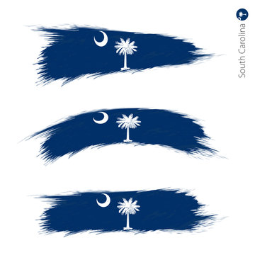 Set of 3 grunge textured flag of US State South Carolina