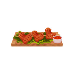 Grilled chicken wings on wooden skewer served on a wooden board with sauce and lettuce leaves, tasty poultry dish vector Illustration on a white background