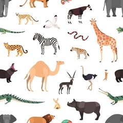 Seamless pattern with exotic animals on white background. Backdrop with wild fauna of African savannah and desert. Colorful vector illustration in flat cartoon style for wrapping paper, wallpaper.