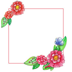 Spring watercolor template with colored leaves and flowers