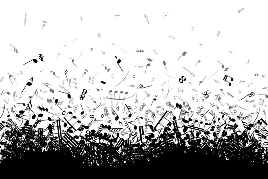Different musical notes and signs in chaotic heap isolated on white