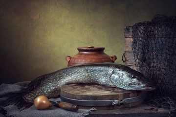 Still life with pike fish
