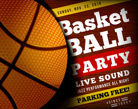 Basketball party with a basketball ball on a wooden floor. illustration