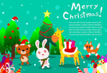 Merry christmas background with cute animal at forest,happy public holiday