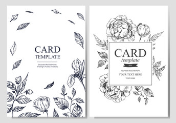 Invitation or greeting card template design with floral hand drawn elements on light background. Vector