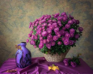 Still life with bouquet of purple chrysanthemums