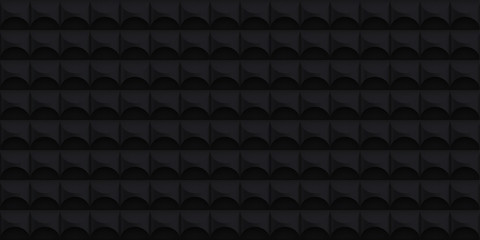 Volume realistic vector cylinder texture, dark geometric seamless tiles pattern, design black background for you projects