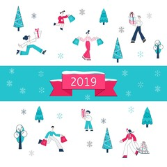 Vector illustration of Christmas and 2019 New Year banner - people carrying shopping bags and wrapped present boxes surrounded by winter holidays decorative elements in flat style.