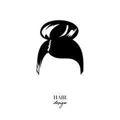 Hand-drawn icon beauty woman with luxurious cute bun hairstyle. Idea for card typography vector. Wedding style. Women's hairstyle, hair design