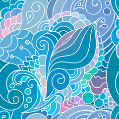 Boho style blue textile pattern with waves and curles. Colorful oriental zentangle style seamless background.