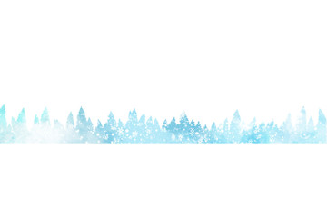 Minimalist winter landscape with christmas trees and snow
