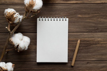 Notebook, pencil and dried branch of cotton flowers on the wooden background. Top view, flat lay, copy space, mock up