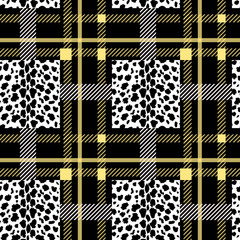 Tartan with Black white leopard texture seamless pattern. Vector illustration.