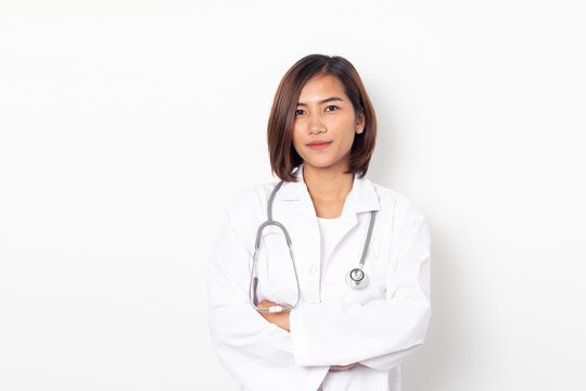 portrait happy asian woman doctor on white background
