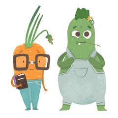 Nerdy carrot and rural zucchini. Cute vegetables with faces and clothes. Hand drawn colored illustration