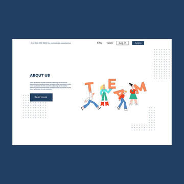 Vector illustration of About us website or landing page with diversity people holding big letters Team in flat style - concept of successful collaboration and teamwork on webpage template.