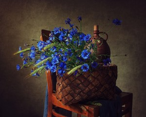 Still life with bouquet cornflowers