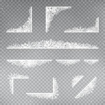 snowflakes frame corner template set
