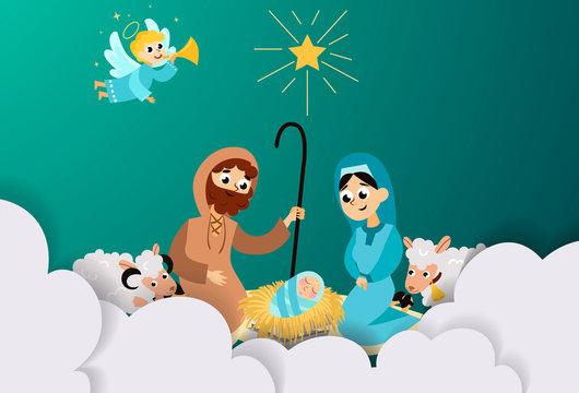 Christmas nativity religious Bethlehem crib scene in holy family