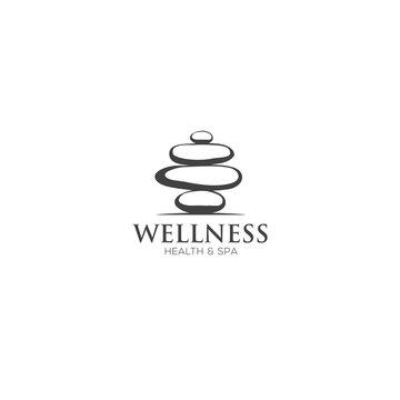 Vector Spa Logo template. Spa stones hand drawn illustration for spa, yoga logo design.
