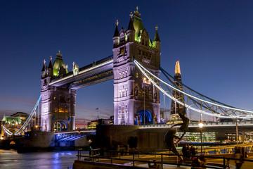 Tower Bridge and Shard at dusk