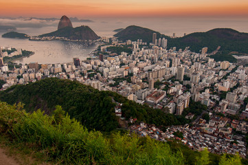 Wall Mural - View of Botafogo and the Sugarloaf Mountain by Sunset in Rio de Janeiro, Brazil
