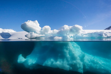 Above and below view of glacial ice near Port Lockroy, Antarctica, Polar Regions
