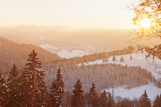Winter landscape at sunrise, Belchen Mountain, Black Forest, Baden-Wurttemberg, Germany, Europe