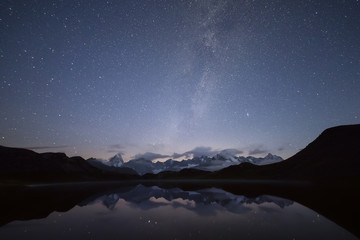 Starry summer sky on Fenetre Lakes and the high peaks Ferret Valley Saint Rhémy Grand St Bernard Aosta Valley Italy Europe