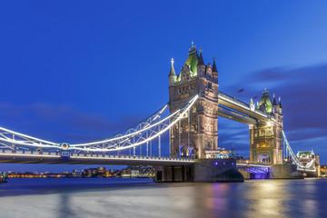 Tower Bridge illuminated at night, London, England, United Kingdom, Europe
