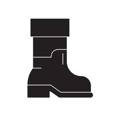 Farmer boots black vector concept icon. Farmer boots flat illustration, sign, symbol