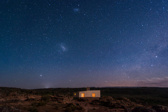 A little house under a sky full of stars in the Cederberg, Western Cape, South Africa, Africa