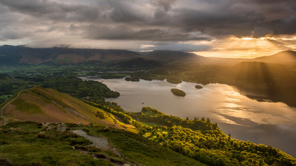 Sunrise over Derwentwater from the ridge leading to Catbells in the English Lake District