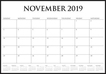 November 2019 desk calendar vector illustration