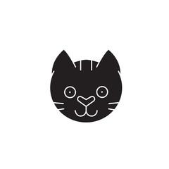 Funny cat head black vector concept icon. Funny cat head flat illustration, sign, symbol