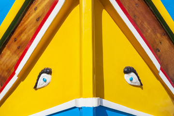 Eye of Horus painted on traditional Malta fishing boat, Marsaxlokk, Malta, Mediterranean, Europe