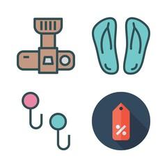 casual icon set. vector set about supermarket, flip flops, photo camera and hanger icons set.