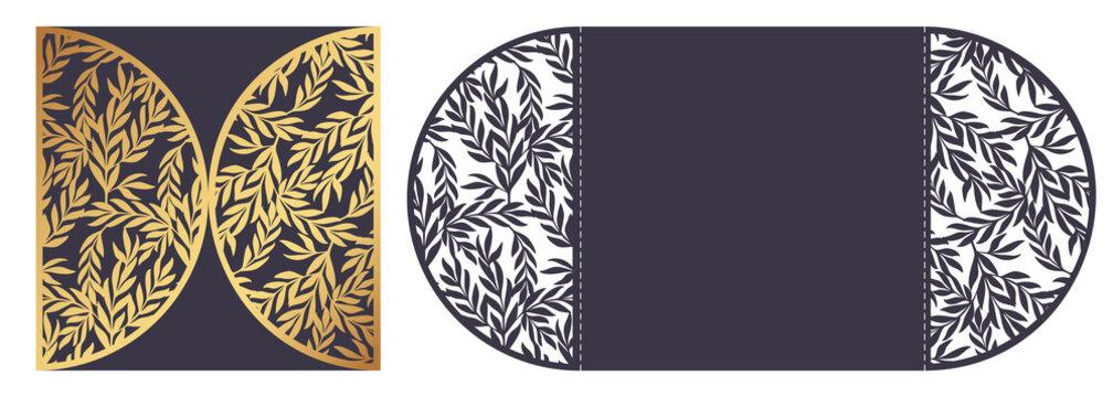 Laser cut ornamental vector template. Die cut paper card with openwork ornament.