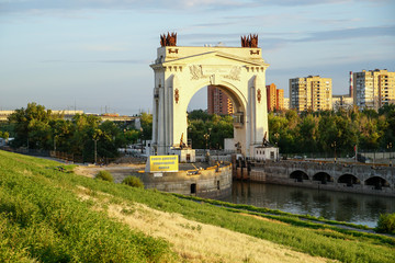 Arch of the first lock of the Volga-Don ship canal at night. Volgograd. Russia. Volga-Don navigable canal. Glory to the Great Lenin.