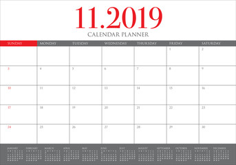 November 2019 desk calendar vector illustration