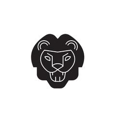 Lion roar black vector concept icon. Lion roar flat illustration, sign, symbol