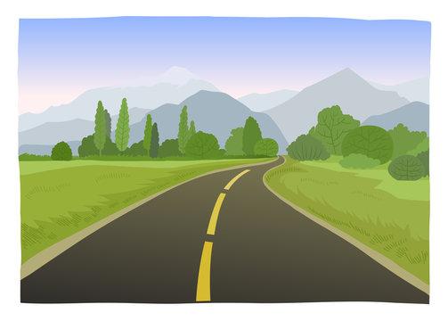 Road trip flat hand drawn vector illustration