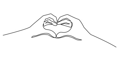 Heart from hands continuous one line drawing. Vector elements, symbol of love and health.