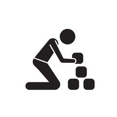 Man taking bricks black vector concept icon. Man taking bricks flat illustration, sign, symbol
