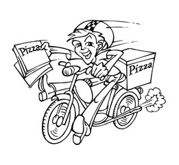 Pizza delivery man on a motorcycle carrying boxes of pizza
