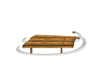 Classic wooden brown colored sleds