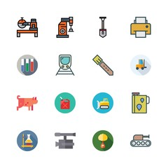 industry icon set. vector set about pig, shovel, flask and ecologism icons set.